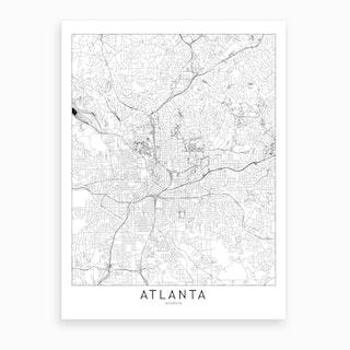 Atlanta White Map Art Print