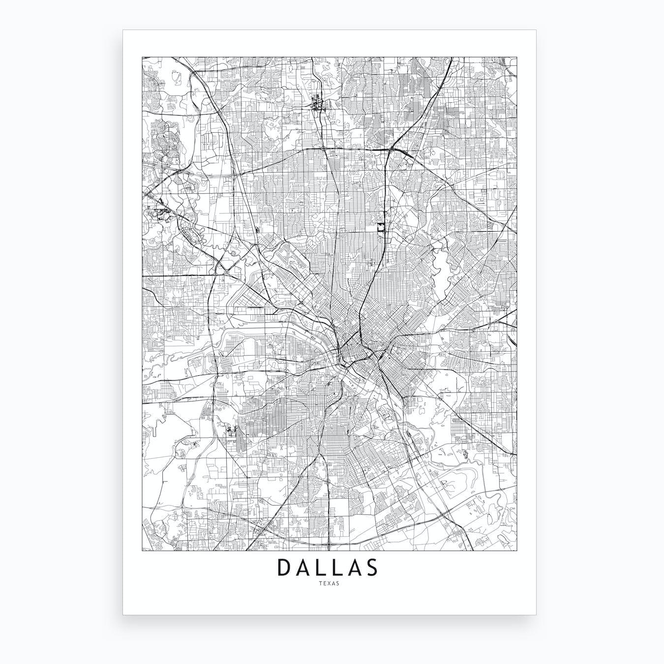 Dallas White Map Art Print By Multiplicity Fy