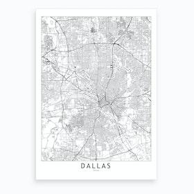 Dallas White Map Art Print