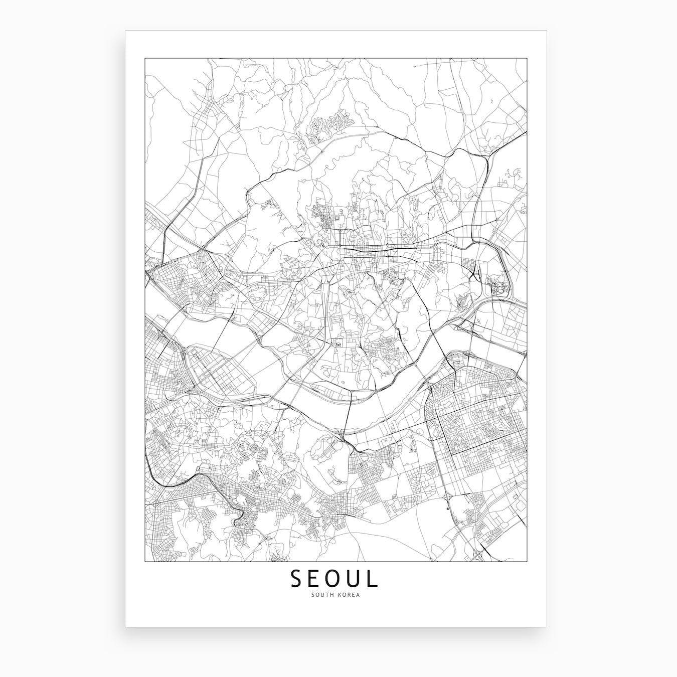 Seoul White Map Art Print