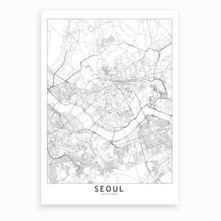Seoul White Map Art Print