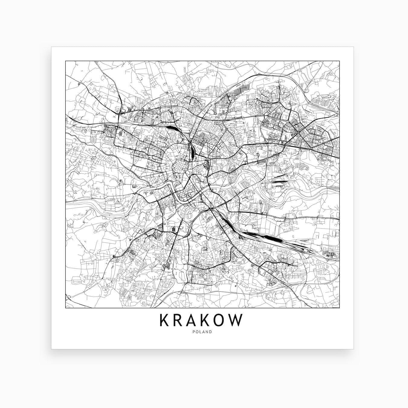 Krakow Map Art Print