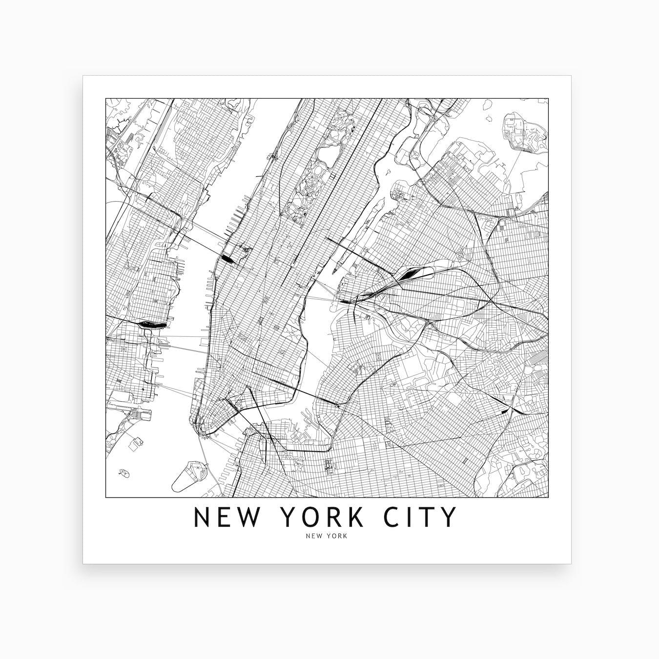 New York Map Black And White.New York Map Art Print I By Multiplicity Fy