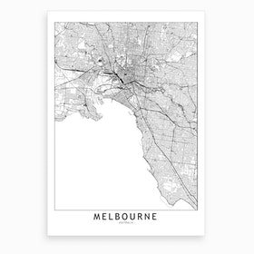 Melbourne White Map Art Print I