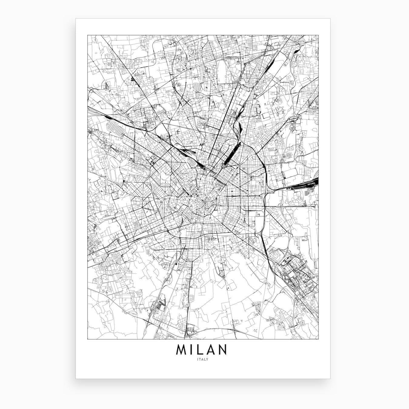 Milan White Map Art Print