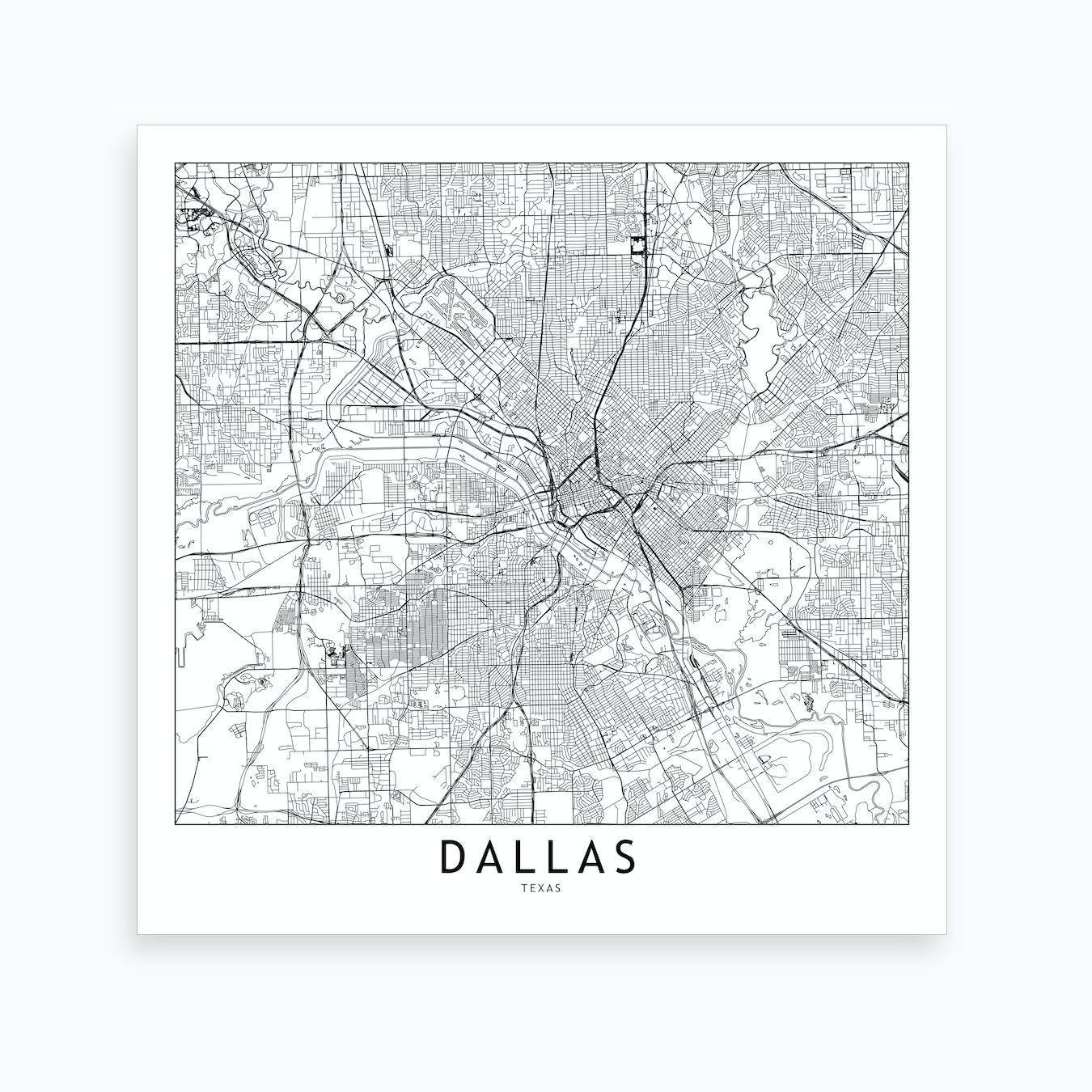 Dallas Map Art Print By Multiplicity Fy