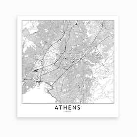 Athens Map Art Print