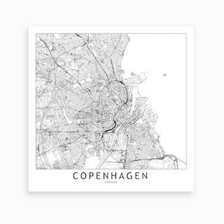 Copenhagen Map Art Print I
