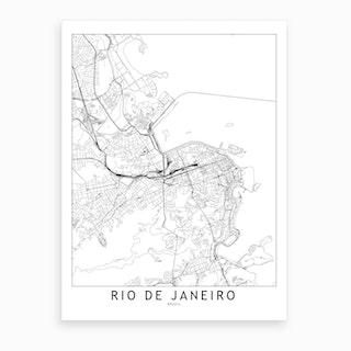 Rio De Janeiro White Map Art Print