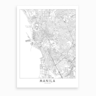 Manila White Map Art Print