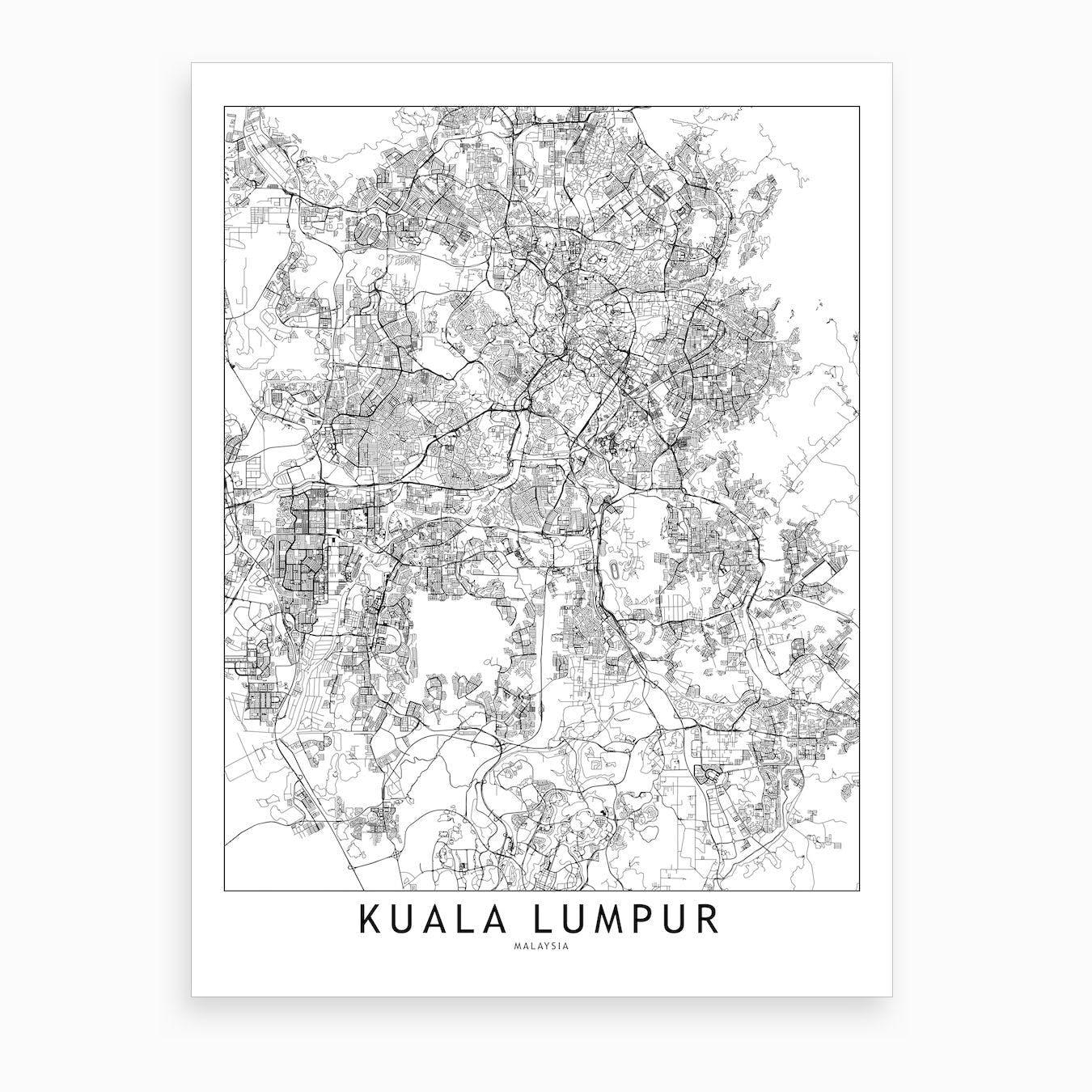 Kuala Lumpur White Map Art Print