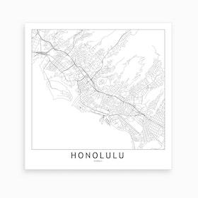 Honolulu Map Art Print