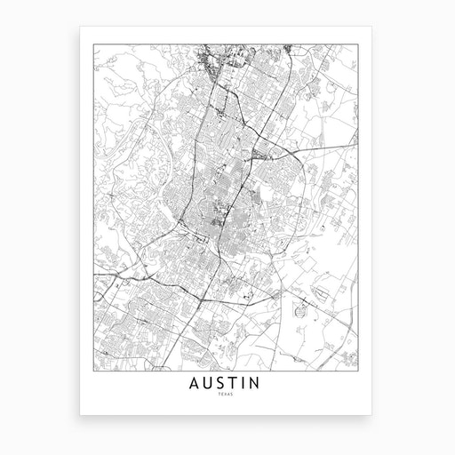 Austin White Map Art Print