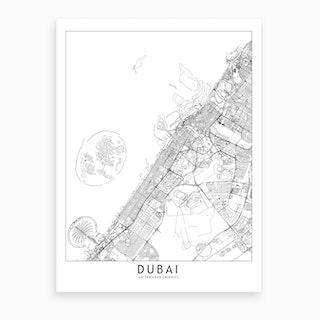 Dubai White Map Art Print