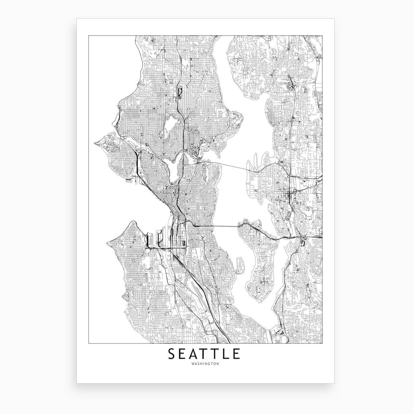 photograph regarding Printable Map of Washington State named Seattle White Map Artwork Print