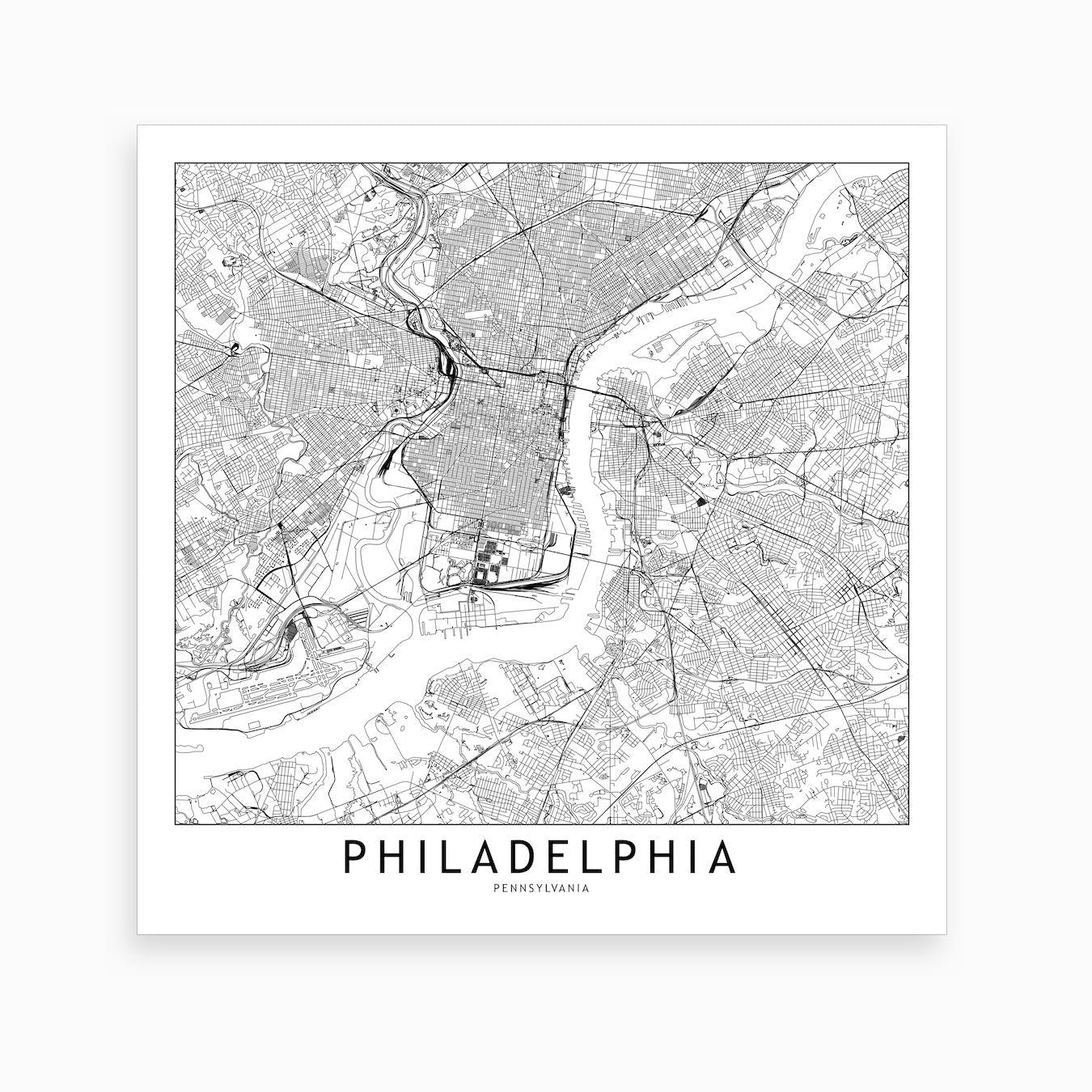 Philadelphia Map Art Print