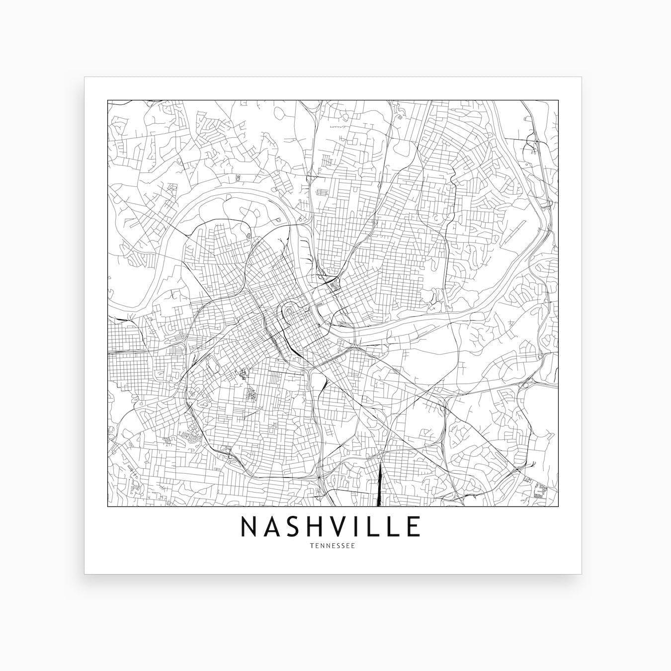 photo relating to Printable Map of Nashville known as Nashville Map Artwork Print