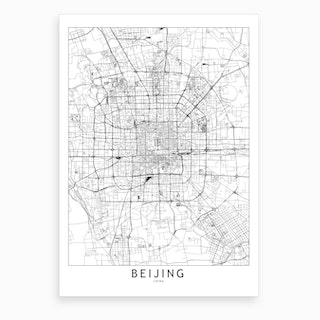 Beijing White Map Art Print