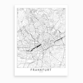 Frankfurt White Map Art Print