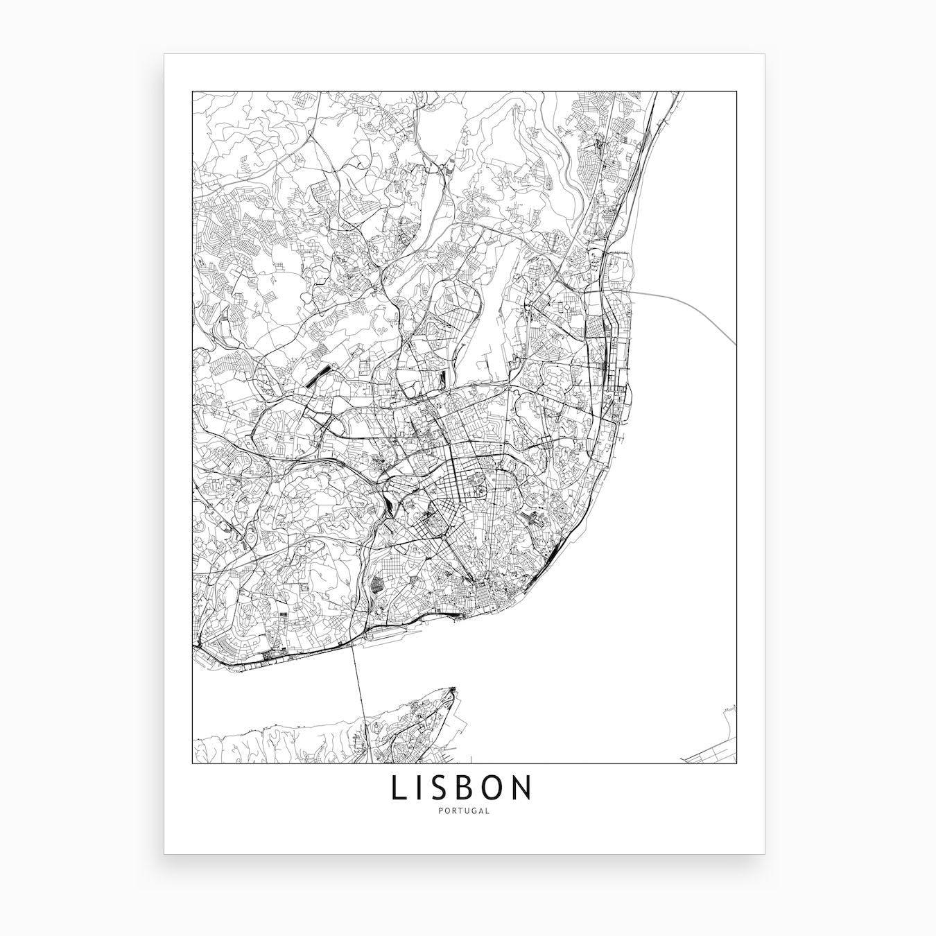 Lisbon White Map Art Print