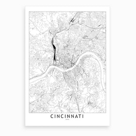 Cincinnati White Map Art Print