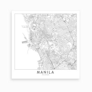 Manila Map Art Print