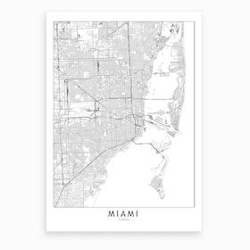 Miami White Map Art Print