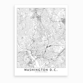 Washington White Map Art Print