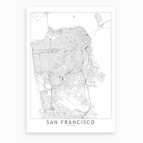 San Francisco White Map Art Print