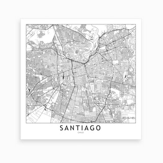 Santiago Map Art Print