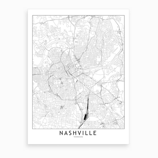 Nashville White Map Art Print