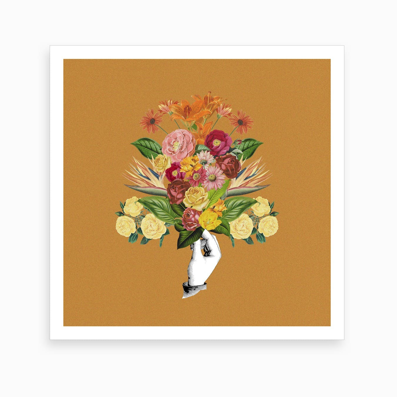 Botanical Yellow Square Art Print