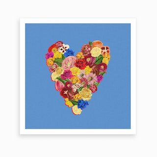 Heart Floral Square Art Print