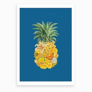 Pineapple Blue Art Print