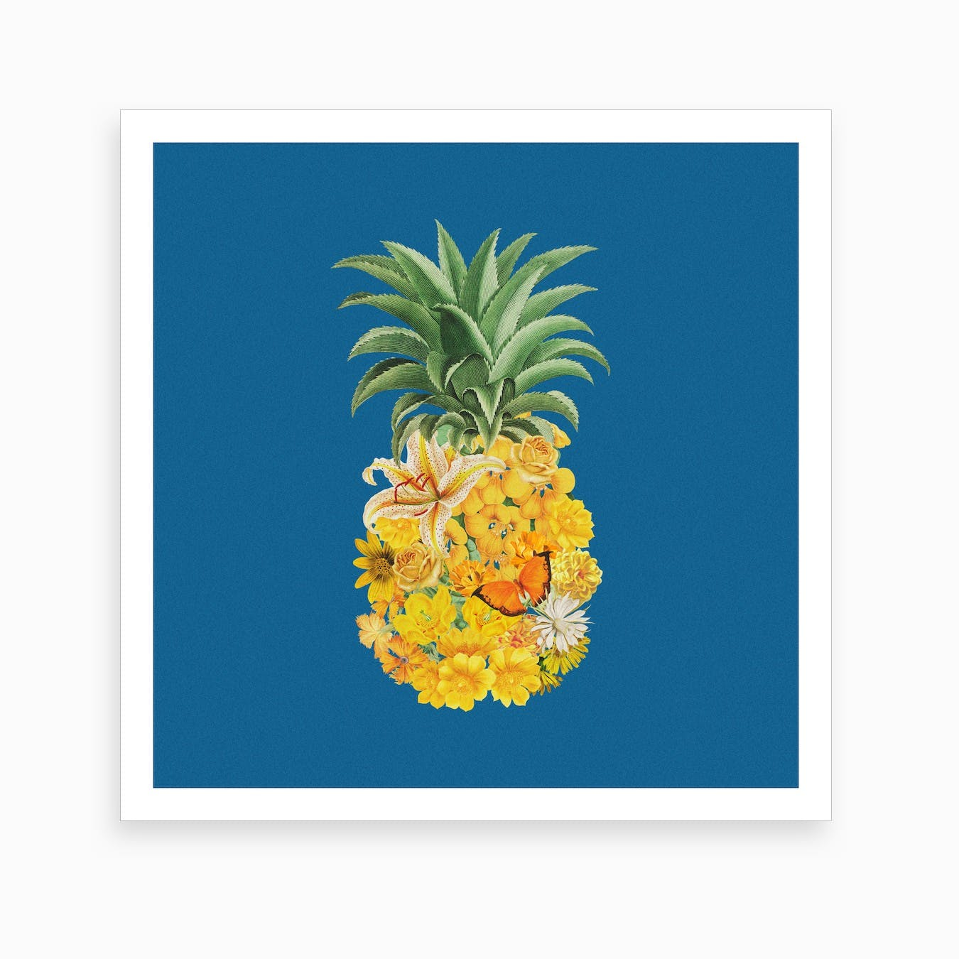 Pineapple Blue Square Art Print