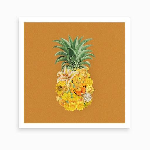 Pineapple Yellow Square Art Print