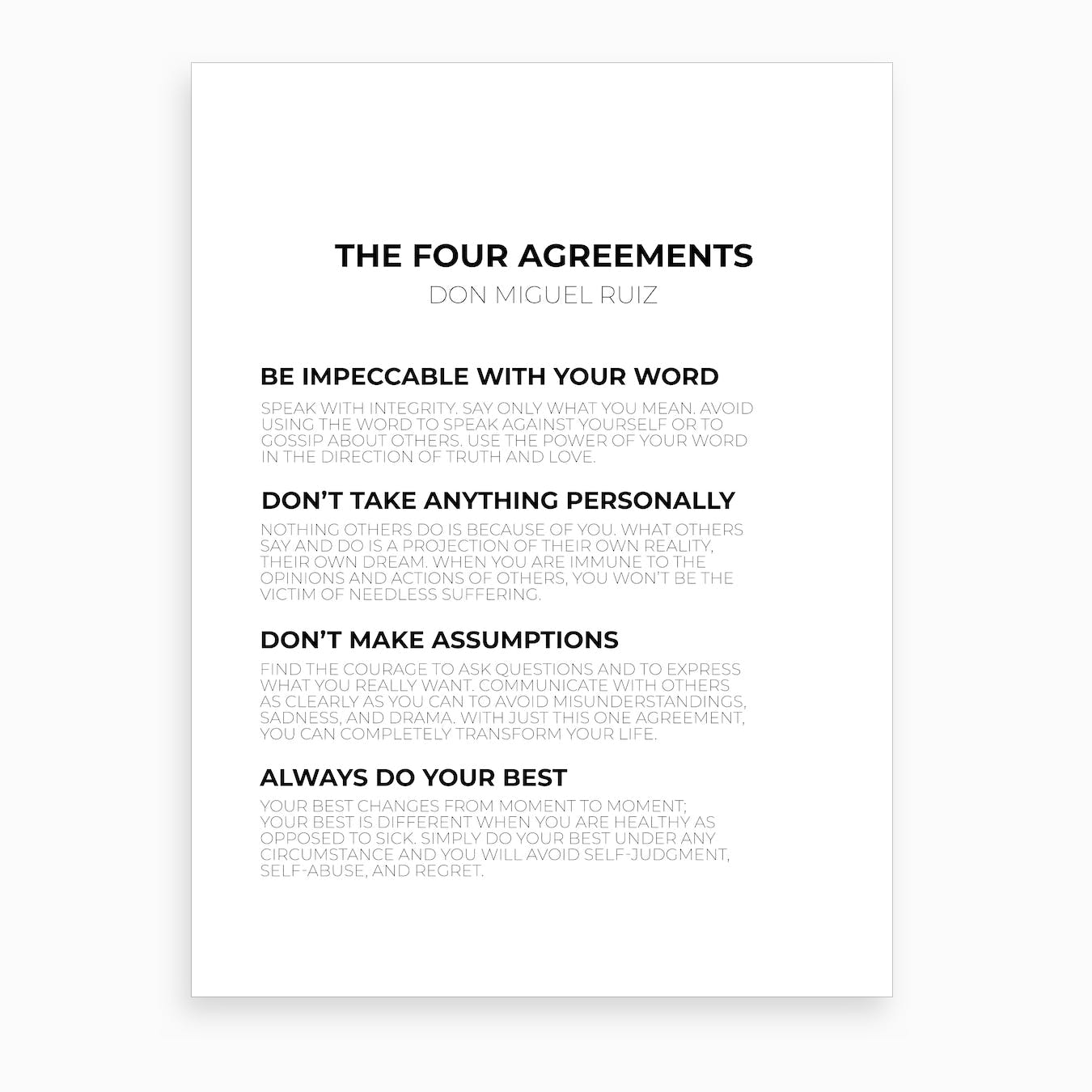picture relating to The Four Agreements Printable titled The 4 Agreements Artwork Print