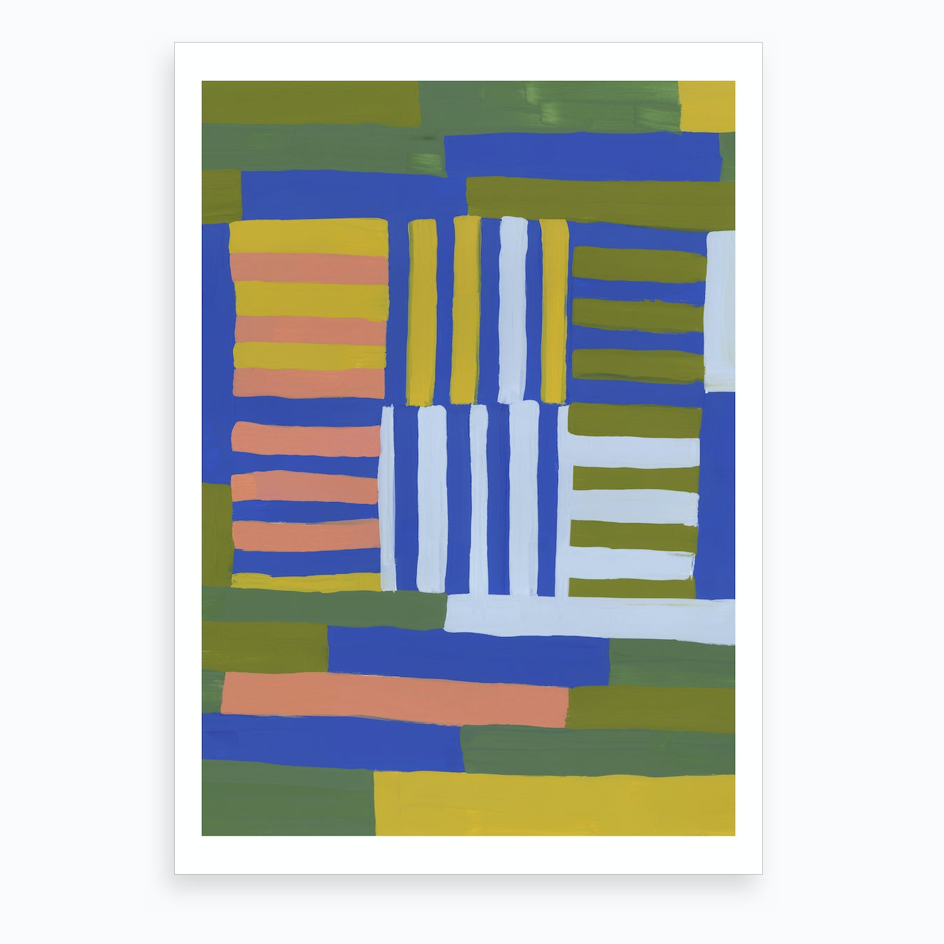 Painted Color Block Grid In Multi Art Print By Becky Bailey Studio
