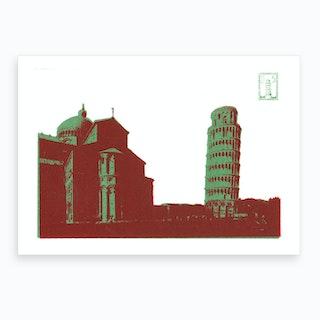 Pisa Screen Print Green Art Print