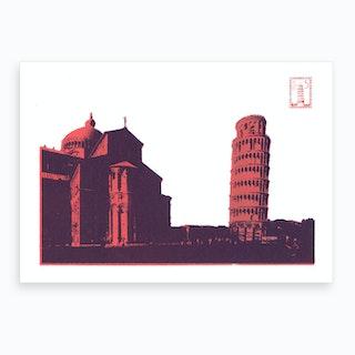 Pisa Screen Print Pink Art Print