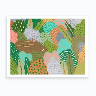 Wild Boar Run Free Art Print