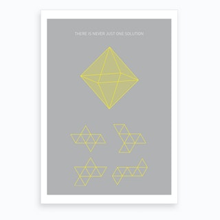 Octahedron Yellow Art Print
