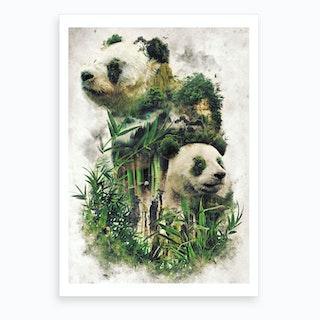 Surreal Panda Art Print