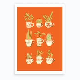 Teacup Succulents Art Print