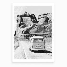 Road Trip BW Art Print