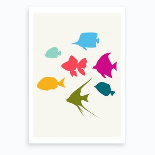Happy Fish Family Art Print