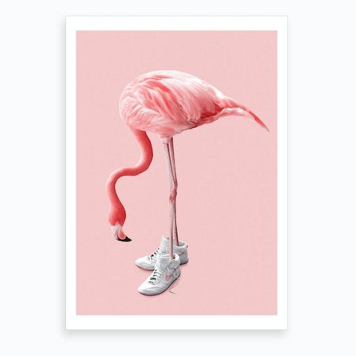 Sneaker Flamingo Art Print