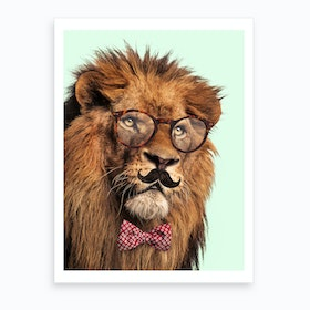 Moustache Lion Art Print