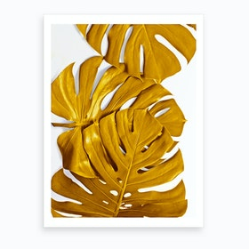 Monstera Gold Art Print