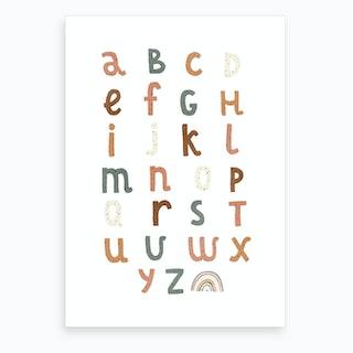 Alphabet Chart With Rainbow  Watermelon  Art Print